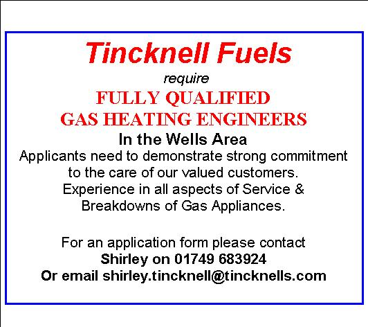 Gas Engineers in Wells Area needed